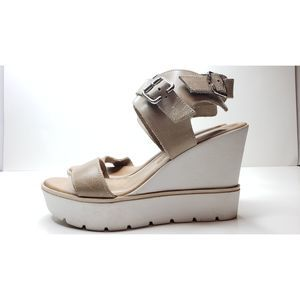 Azura Italy Leather Camel Wedge Strap Open Sandal